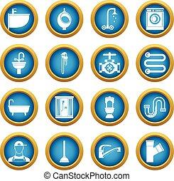 Plumbing icons blue circle set
