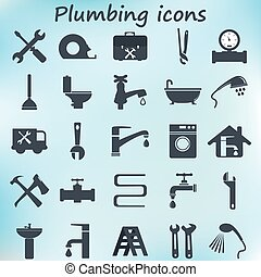 Plumbing Icons Flat Design. Vector Illustration