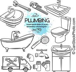 Plumbing icons.
