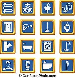 Plumbing icons set blue