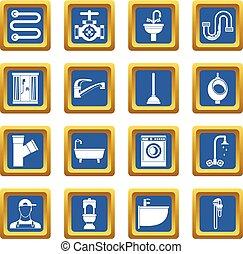 Plumbing icons set blue