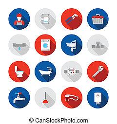 Plumbing icons set - Plumbing service shower bathtub and...