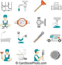 Plumbing Icons Set - Plumbing Icons Set.Plumbing Vector...