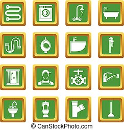 Plumbing icons set green