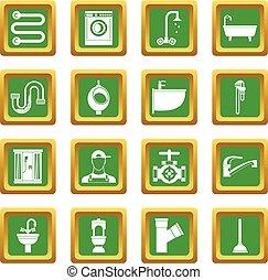 Plumbing icons set green