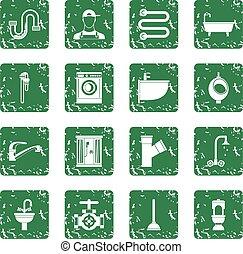 Plumbing icons set grunge