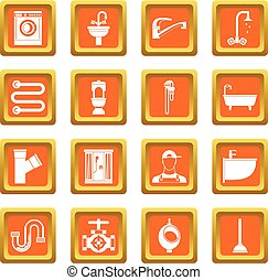 Plumbing icons set orange