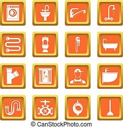 Plumbing icons set orange