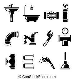 Plumbing icons set. Pipe and counter, shower and bath, sink...