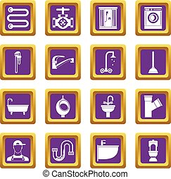 Plumbing icons set purple