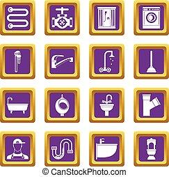 Plumbing icons set purple