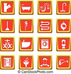 Plumbing icons set red