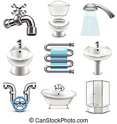 Plumbing icons vector set - Plumbing icons detailed photo...