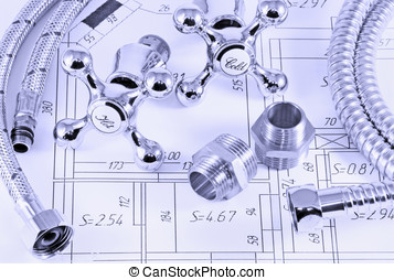 plumbing in terms - different plumbing and metal accessories...