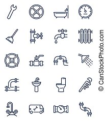 Plumbing line icons set. Bath pipes, shower, water, toilet drain, valve, tap. Thin icon collection for housekeeping service, bathroom, home repair store, plumber job and tools topics