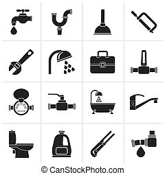 plumbing objects and tools icons - Black plumbing objects...