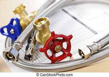 Plumbing parts - Plumbing valves hoses and assorted parts...