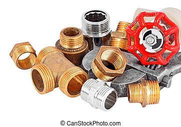 Plumbing pipe, valve and wrench - Plumbing pipe and wrench,...