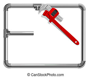 plumbing - pipe wrench and pipes