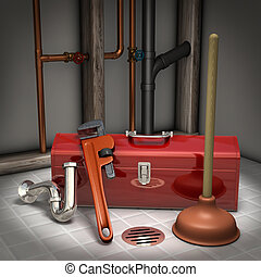 Plumbers toolbox, plunger, pipe wrench and sink trap on a tiled floor with exposed pipes in the background