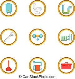 Plumbing problem icons set, cartoon style