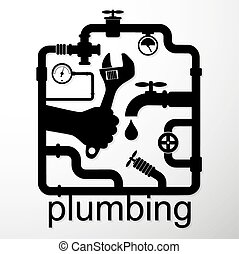 Plumbing repair design business, vector