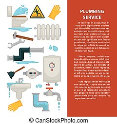 Plumbing service advertisement banner with sanitary engineering and pipes
