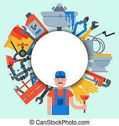 Plumbing service circle set vector illustration. Professional plumber is standing in front of white circle with place for text. Tools and plumbing accessories
