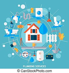 Plumbing Service Concept Circle Composition Poster -...