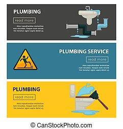 Plumbing service equipment vector web banners
