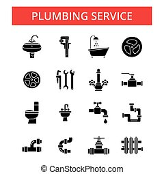 Plumbing service illustration, thin line icons, linear flat signs, vector symbols, outline pictograms set, editable strokes