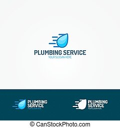 Plumbing service logo set with flying water drop
