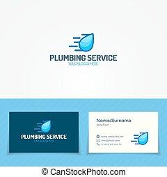 Plumbing service logo set with water drop