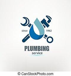 plumbing service logo template, stylized vector symbol