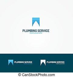 Plumbing service logoa with water drop