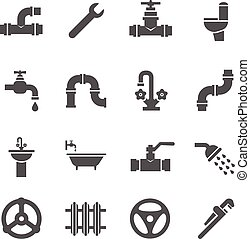 Plumbing service objects, tools, bathroom, sanitary engineering vector icons