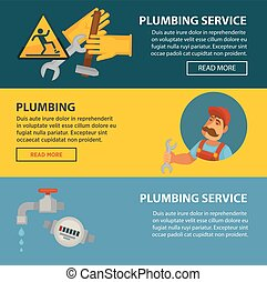 Plumbing service sewerage and leakeage repair vector web banners of bathroom toilet or kitchen plumber equipment