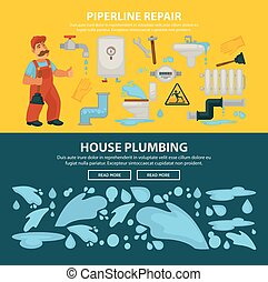 Plumbing service sewerage repair vector web banners of bathroom toilet or kitchen plumber equipment