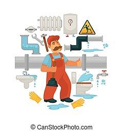 Plumbing service vector flat poster of plumber repair...