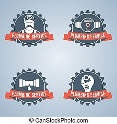 Plumbing service vector logo set