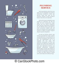 Plumbing services poster with tools and equipment