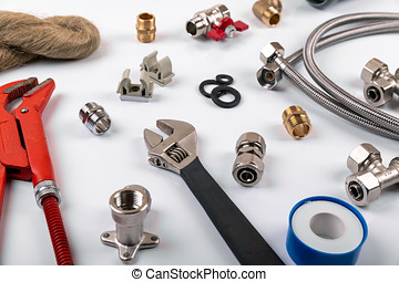 plumbing services - tools and accessories on white background