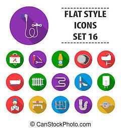 Plumbing set icons in flat style. Big collection plumbing bitmap,raster symbol stock illustration