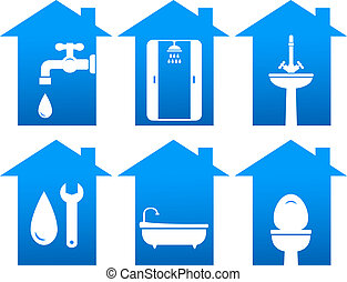 plumbing set of bathroom and repair icons