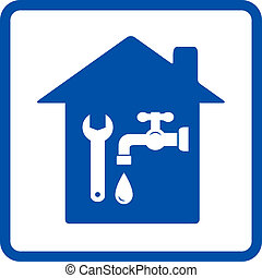plumbing sign with house, tap and spanner in frame