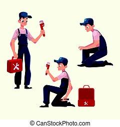 Plumbing specialist at work, repairing sewage pipes, sink, washing machine, cartoon vector illustration. Plumber, plumbing specialist, repairman at work, fixing