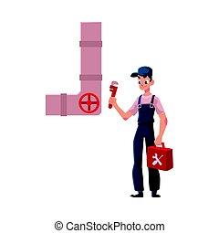 Plumbing specialist holding wrench, toolbox, ready to repair sewer pipe