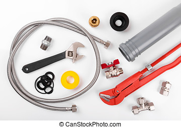 plumbing tools and equipment on white. top view