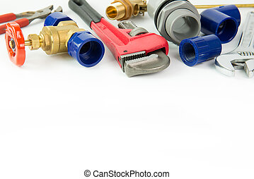 Plumbing tools and materials - Various plumbing tools and...