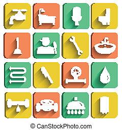 Plumbing Tools Icons Set